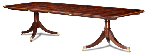 Crotch Mahog Reeded Dining Table