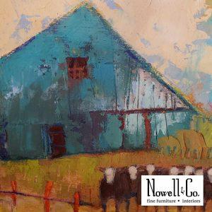 Barn wall art - blue barn and cows