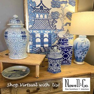 Blue and White products in the showroom