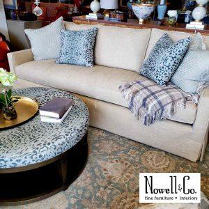 Sofa, ottoman table in showroom