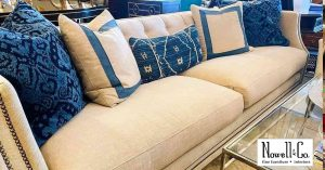 Sofa with blue pillows