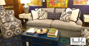 Wesley Hall sofa and furnishings staged in the showroom