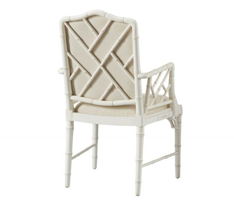 Upholstered Bamboo Arm Chair - Back View