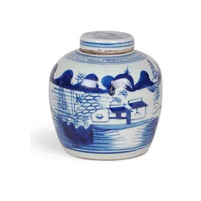Blue and White Canton Jar with Lid