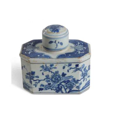 Blue and White Bird and Flower Tea Tin