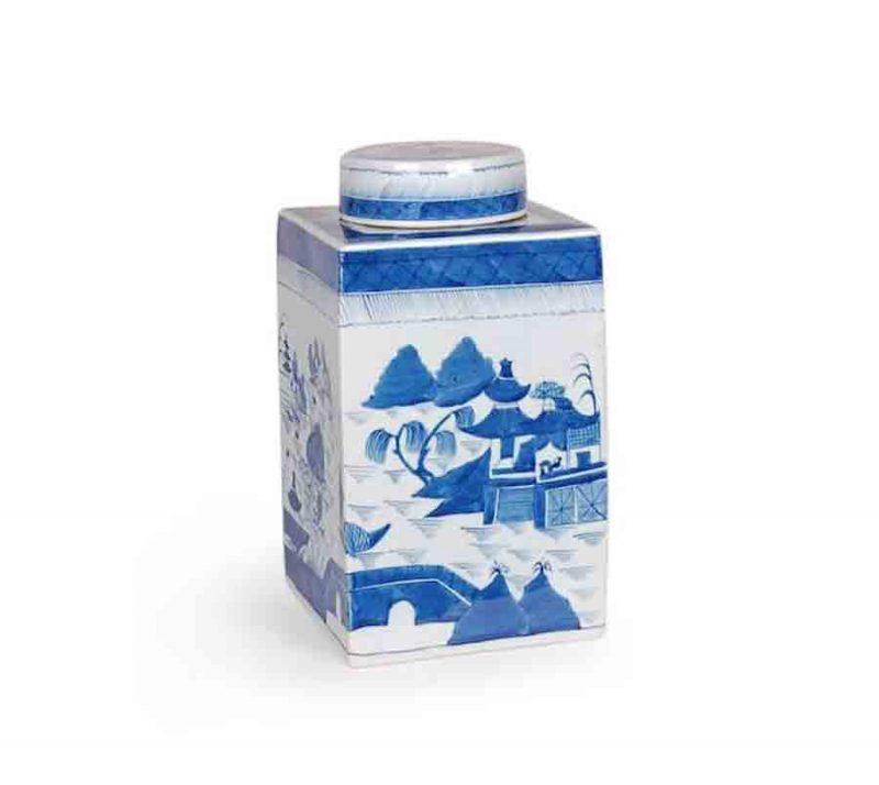Blue and White Porcelain Canton Lidded Tea Jar