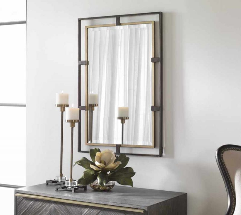 Carrizo Rectangle Mirror - Staged